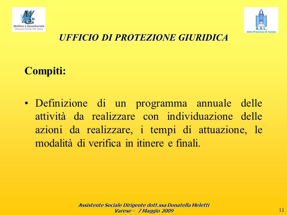 Assistente Sociale Dirigente dott.ssa Donatella Meletti Varese – 7 Maggio 2009 11 UFFICIO DI PROTEZIONE GIURIDICA Compiti: Definizione di un programma