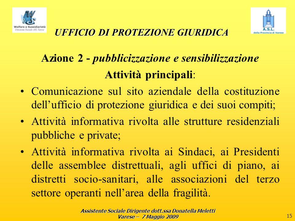Assistente Sociale Dirigente dott.ssa Donatella Meletti Varese – 7 Maggio 2009 15 UFFICIO DI PROTEZIONE GIURIDICA Azione 2 - pubblicizzazione e sensib