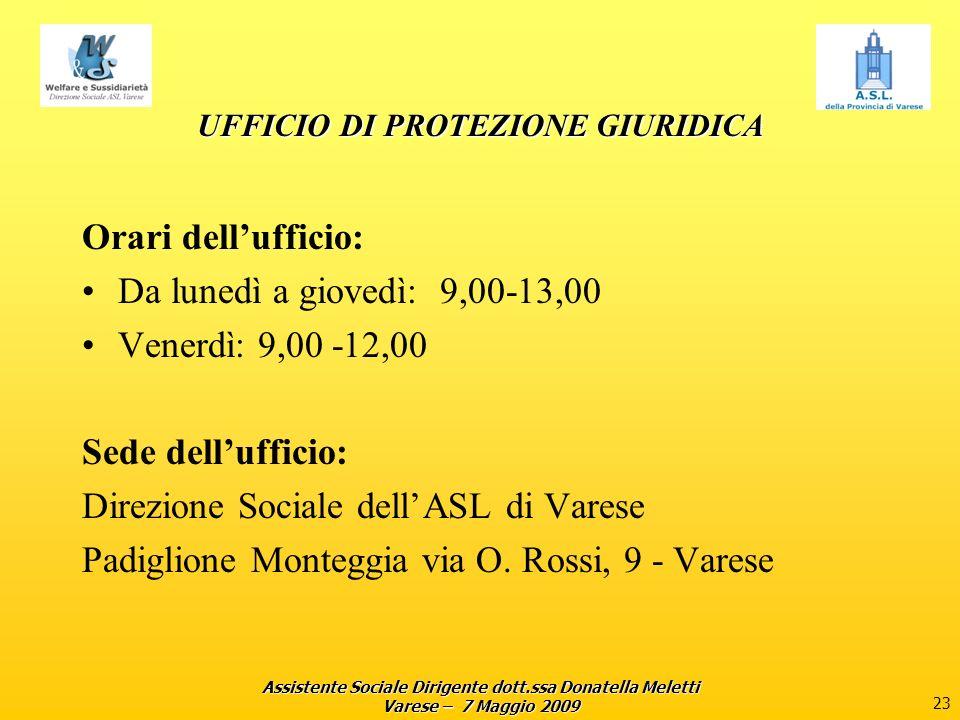 Assistente Sociale Dirigente dott.ssa Donatella Meletti Varese – 7 Maggio 2009 23 UFFICIO DI PROTEZIONE GIURIDICA Orari dellufficio: Da lunedì a giove