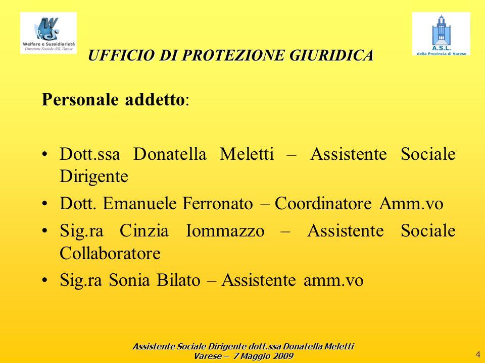 Assistente Sociale Dirigente dott.ssa Donatella Meletti Varese – 7 Maggio 2009 4 UFFICIO DI PROTEZIONE GIURIDICA Personale addetto: Dott.ssa Donatella