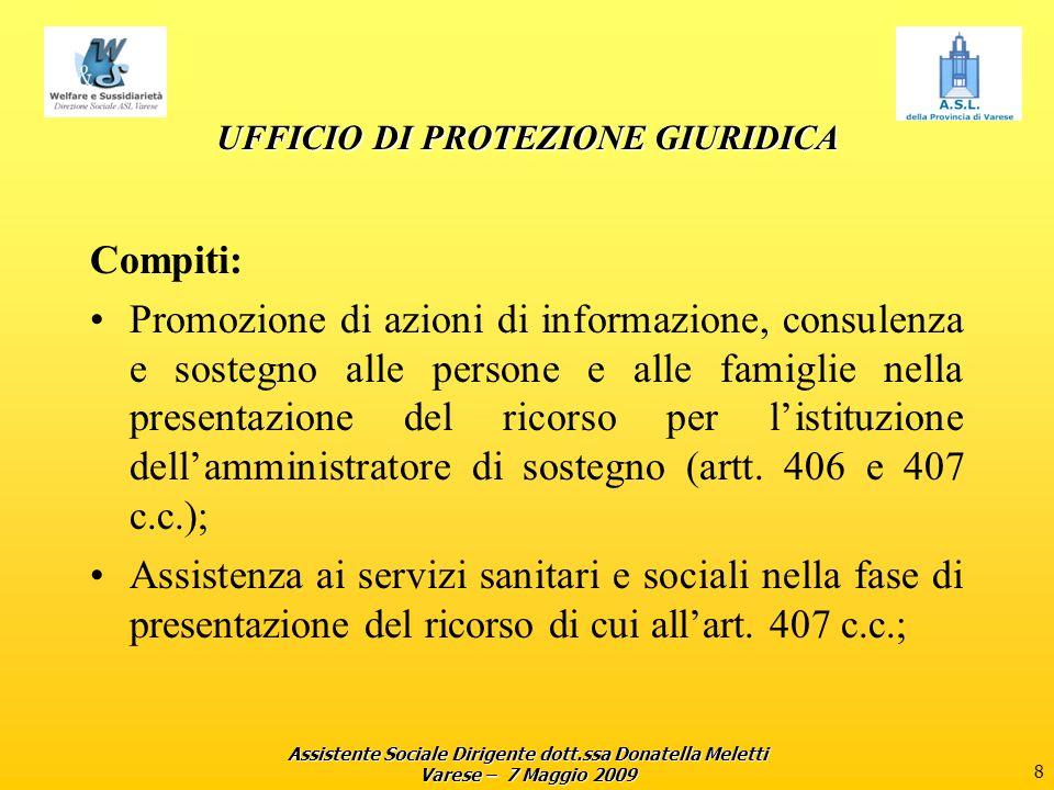 Assistente Sociale Dirigente dott.ssa Donatella Meletti Varese – 7 Maggio 2009 8 UFFICIO DI PROTEZIONE GIURIDICA Compiti: Promozione di azioni di info