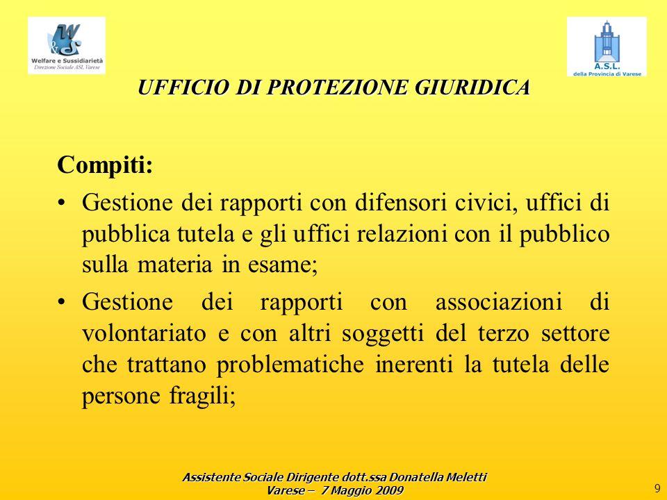 Assistente Sociale Dirigente dott.ssa Donatella Meletti Varese – 7 Maggio 2009 9 UFFICIO DI PROTEZIONE GIURIDICA Compiti: Gestione dei rapporti con di