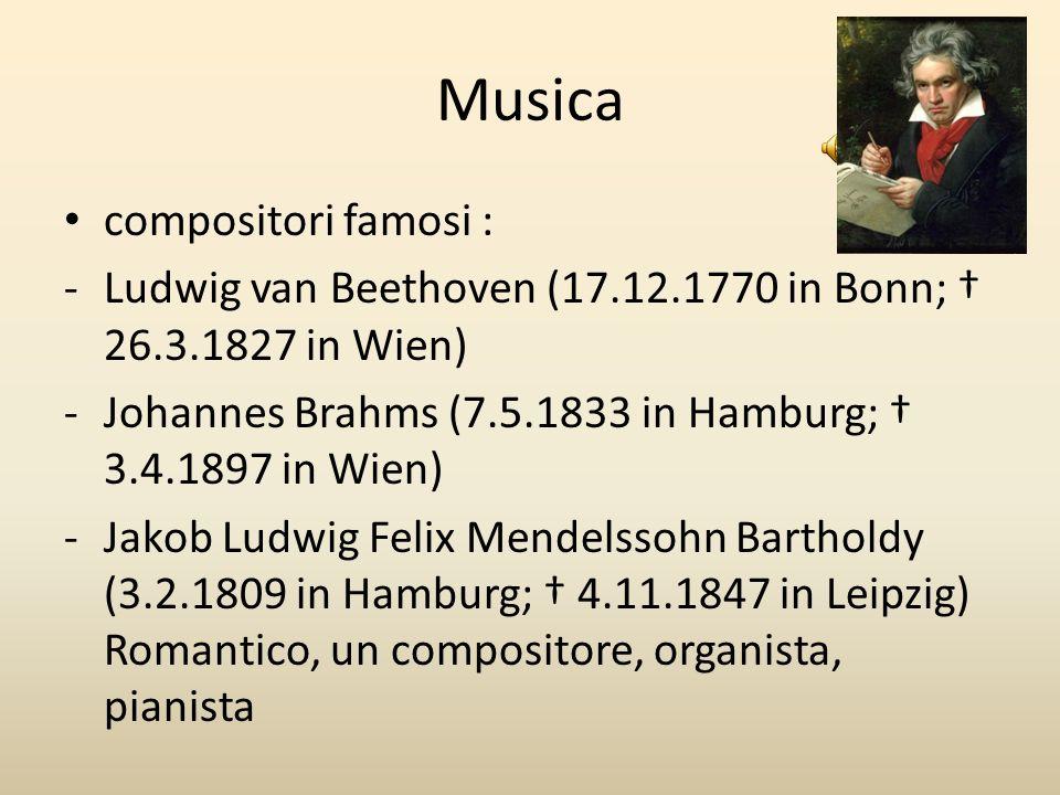 Musica compositori famosi : -Ludwig van Beethoven (17.12.1770 in Bonn; 26.3.1827 in Wien) -Johannes Brahms (7.5.1833 in Hamburg; 3.4.1897 in Wien) -Ja