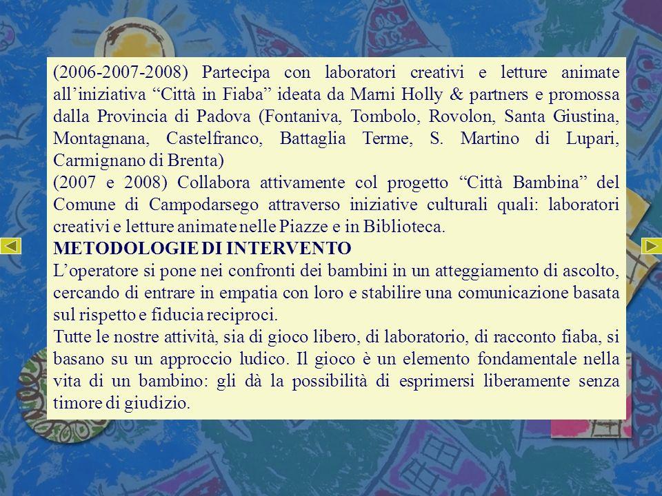 (2006-2007-2008) Partecipa con laboratori creativi e letture animate alliniziativa Città in Fiaba ideata da Marni Holly & partners e promossa dalla Pr