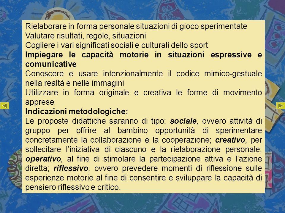 Rielaborare in forma personale situazioni di gioco sperimentate Valutare risultati, regole, situazioni Cogliere i vari significati sociali e culturali