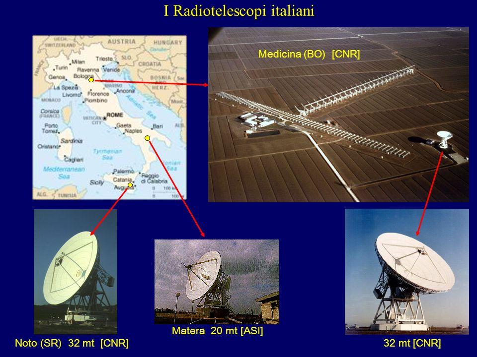 I Radiotelescopi italiani Noto (SR) 32 mt [CNR] Medicina (BO) [CNR] 32 mt [CNR] Matera 20 mt [ASI]
