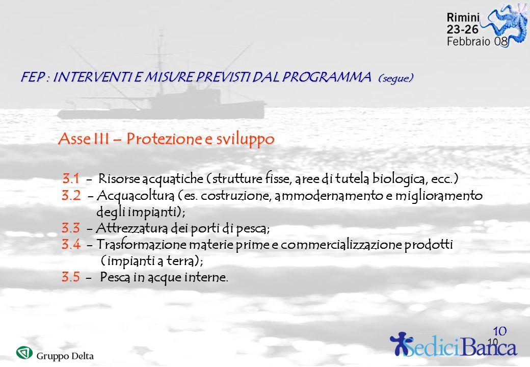 10 Asse III– Protezione e sviluppo Asse III – Protezione e sviluppo 3.1 3.1 - Risorse acquatiche (strutture fisse, aree di tutela biologica, ecc.) 3.2 3.2 - Acquacoltura (es.
