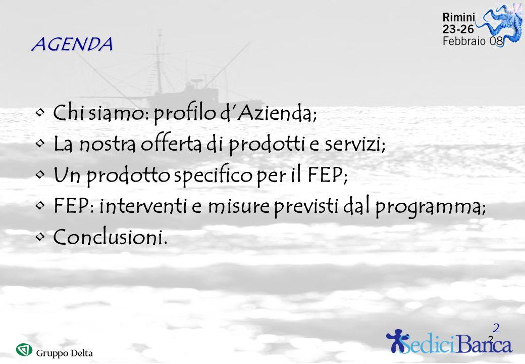 2 AGENDA Chi siamo: profilo dAzienda; La nostra offerta di prodotti e servizi; Un prodotto specifico per il FEP; FEP: interventi e misure previsti dal programma; Conclusioni.