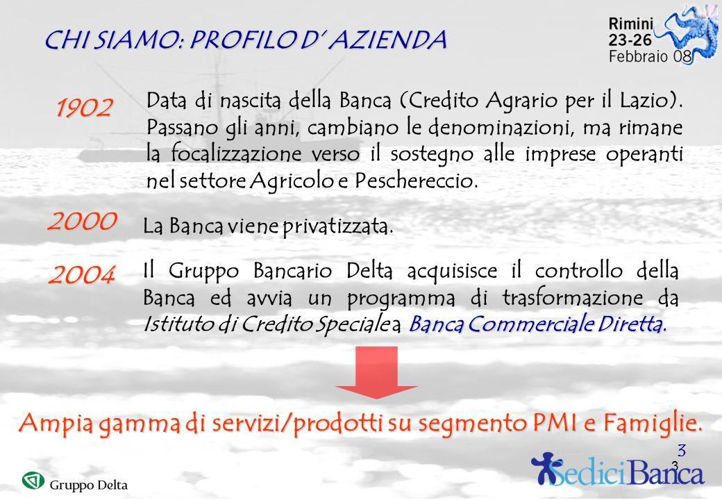 3 CHI SIAMO: PROFILO D AZIENDA 1902 2000 2004 Data di nascita della Banca (Credito Agrario per il Lazio). Passano gli anni, cambiano le denominazioni,