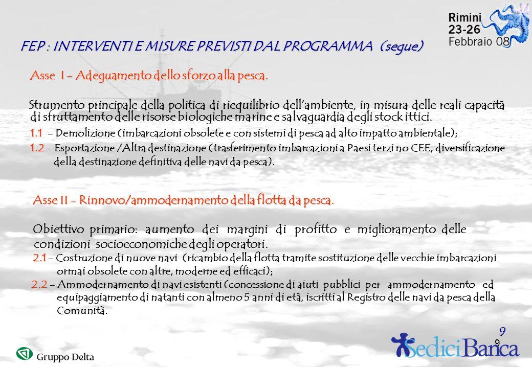 9 FEP : INTERVENTI E MISURE PREVISTI DAL PROGRAMMA (segue) Asse I - Adeguamento dello sforzo alla pesca. Strumento principale della politica di riequi