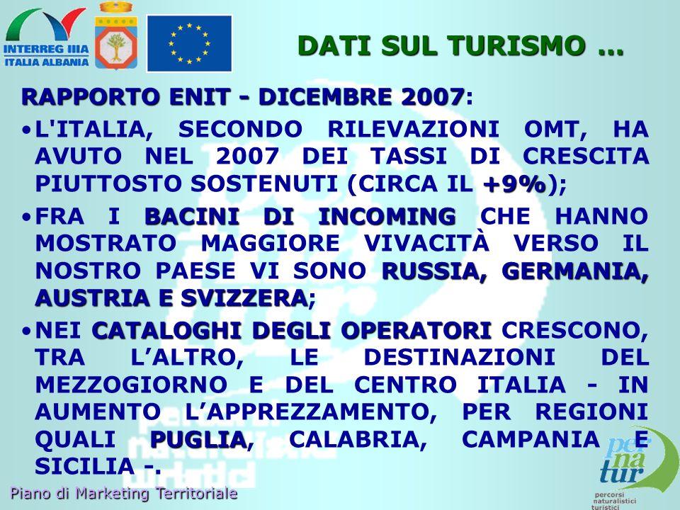 Piano di Marketing Territoriale RAPPORTO ENIT - DICEMBRE 2007 RAPPORTO ENIT - DICEMBRE 2007: +9%L'ITALIA, SECONDO RILEVAZIONI OMT, HA AVUTO NEL 2007 D