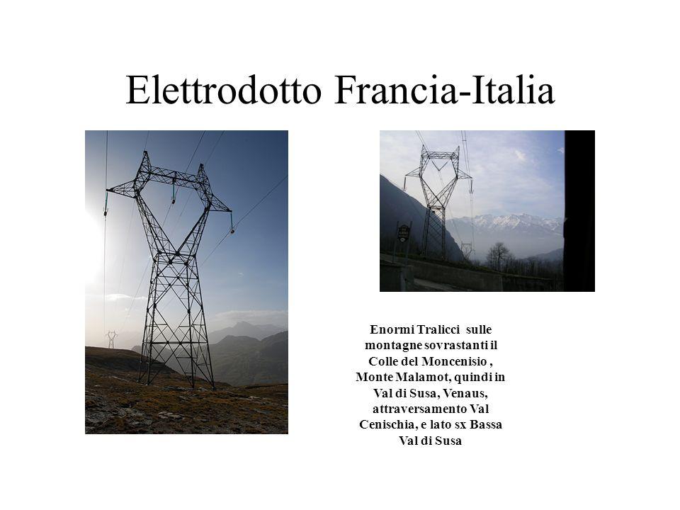 Elettrodotto Francia-Italia Enormi Tralicci sulle montagne sovrastanti il Colle del Moncenisio, Monte Malamot, quindi in Val di Susa, Venaus, attraver