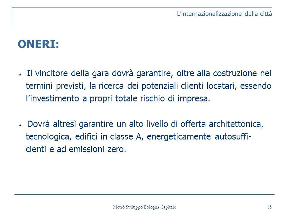 Metrò Sviluppo Bologna Capitale 15 Linternazionalizzazione della città ONERI: Il vincitore della gara dovrà garantire, oltre alla costruzione nei termini previsti, la ricerca dei potenziali clienti locatari, essendo linvestimento a propri totale rischio di impresa.