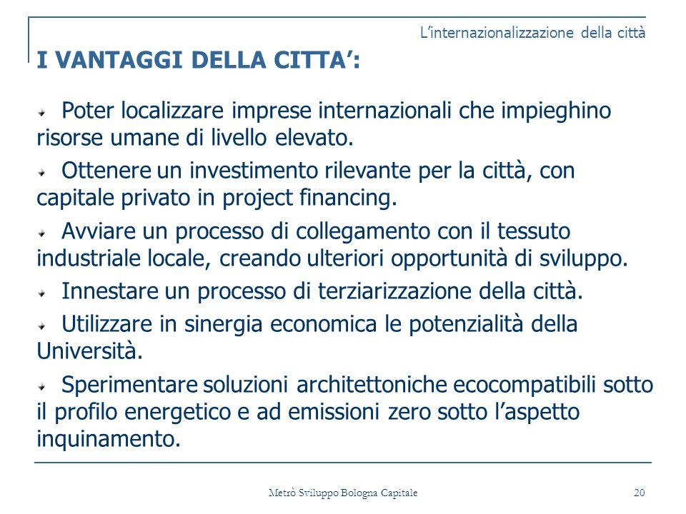 Metrò Sviluppo Bologna Capitale 20 Linternazionalizzazione della città I VANTAGGI DELLA CITTA: Poter localizzare imprese internazionali che impieghino risorse umane di livello elevato.