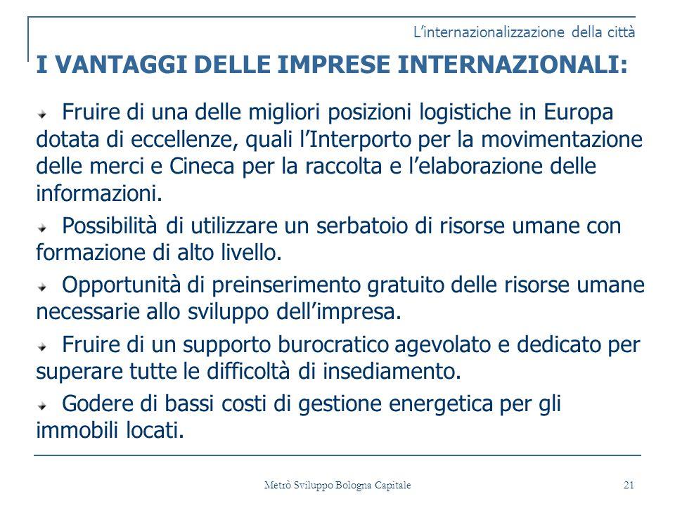 Metrò Sviluppo Bologna Capitale 21 Linternazionalizzazione della città I VANTAGGI DELLE IMPRESE INTERNAZIONALI: Fruire di una delle migliori posizioni logistiche in Europa dotata di eccellenze, quali lInterporto per la movimentazione delle merci e Cineca per la raccolta e lelaborazione delle informazioni.