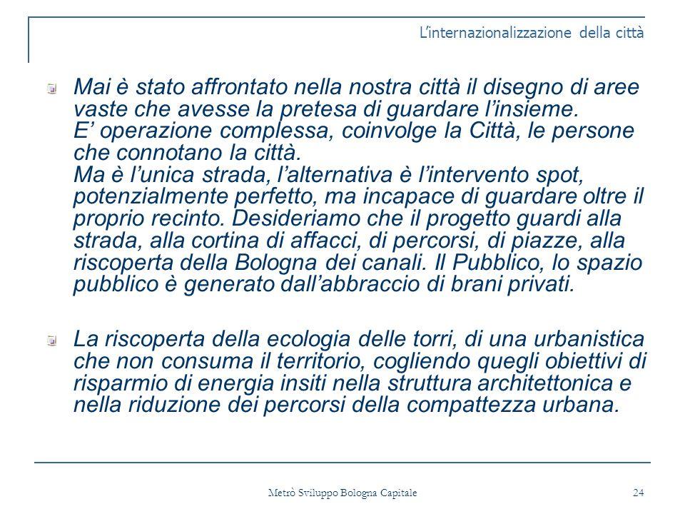 Metrò Sviluppo Bologna Capitale 24 Mai è stato affrontato nella nostra città il disegno di aree vaste che avesse la pretesa di guardare linsieme.