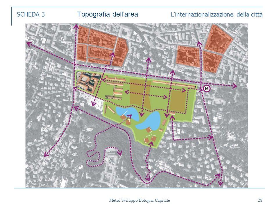 Metrò Sviluppo Bologna Capitale 28 SCHEDA 3 Topografia dellarea Linternazionalizzazione della città