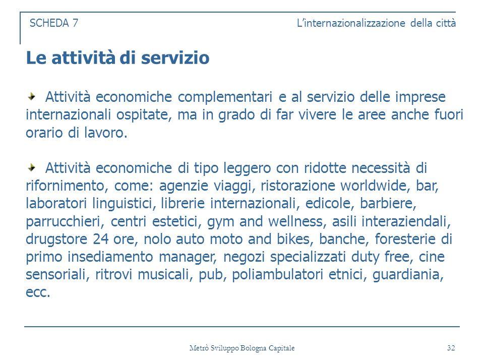 Metrò Sviluppo Bologna Capitale 32 SCHEDA 7 Linternazionalizzazione della città Le attività di servizio Attività economiche complementari e al servizio delle imprese internazionali ospitate, ma in grado di far vivere le aree anche fuori orario di lavoro.