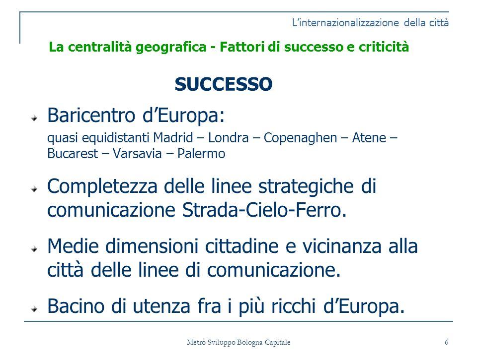 Metrò Sviluppo Bologna Capitale 27 SCHEDA 2 Linternazionalizzazione della città Topografia dellarea