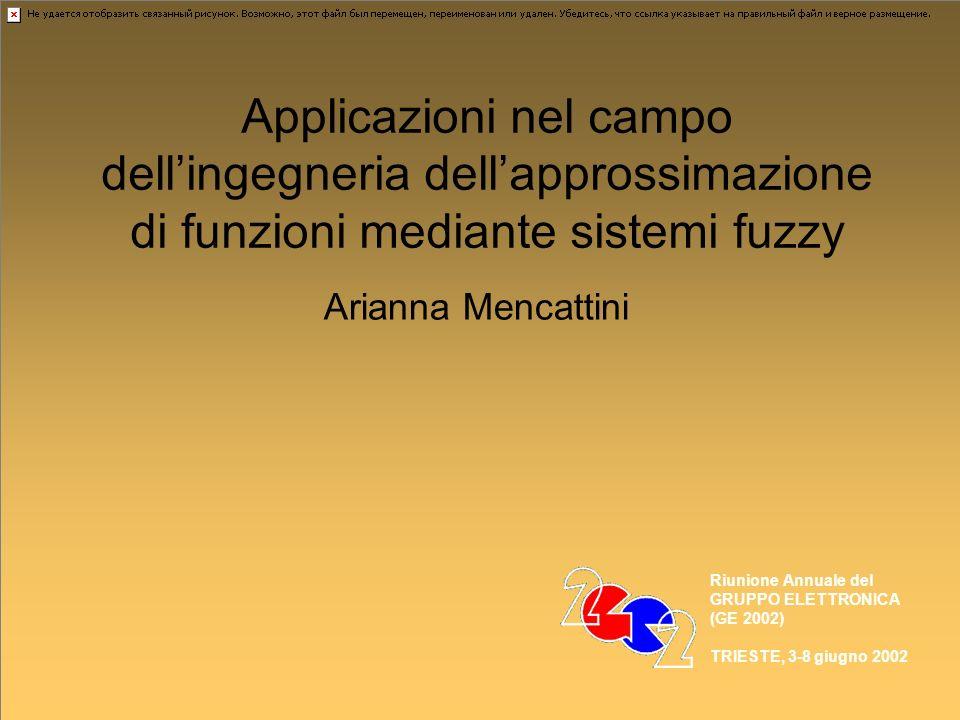 Applicazioni nel campo dellingegneria dellapprossimazione di funzioni mediante sistemi fuzzy Arianna Mencattini Riunione Annuale del GRUPPO ELETTRONICA (GE 2002) TRIESTE, 3-8 giugno 2002