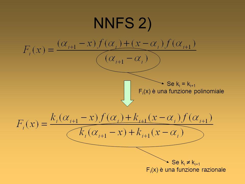 NNFS 2) Se k i k i+1 F i (x) è una funzione razionale Se k i = k i+1 F i (x) è una funzione polinomiale