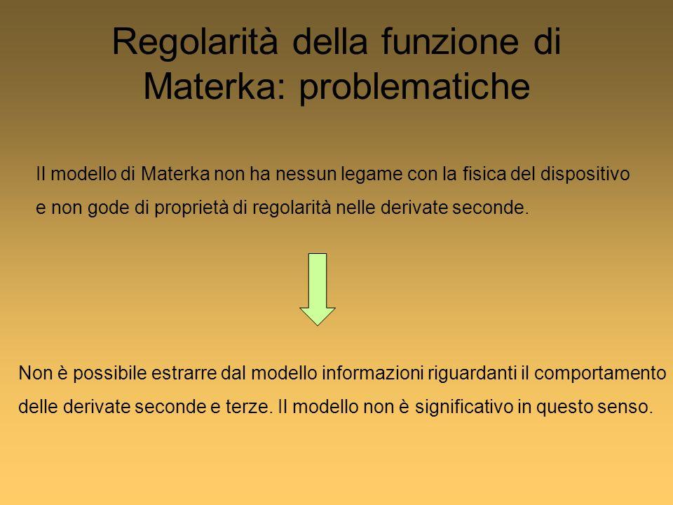 Regolarità della funzione di Materka: problematiche Il modello di Materka non ha nessun legame con la fisica del dispositivo e non gode di proprietà di regolarità nelle derivate seconde.