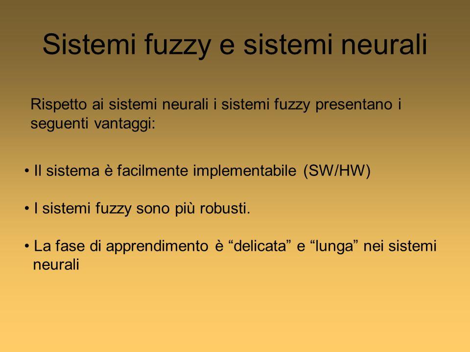 Sistemi fuzzy e sistemi neurali Rispetto ai sistemi neurali i sistemi fuzzy presentano i seguenti vantaggi: Il sistema è facilmente implementabile (SW/HW) I sistemi fuzzy sono più robusti.