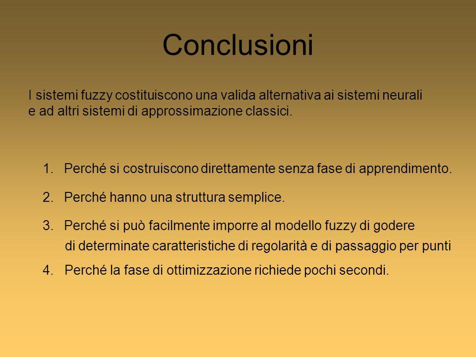 Conclusioni I sistemi fuzzy costituiscono una valida alternativa ai sistemi neurali e ad altri sistemi di approssimazione classici.