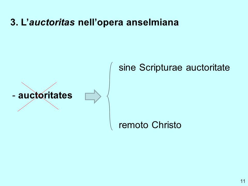 11 3. Lauctoritas nellopera anselmiana - auctoritates sine Scripturae auctoritate remoto Christo