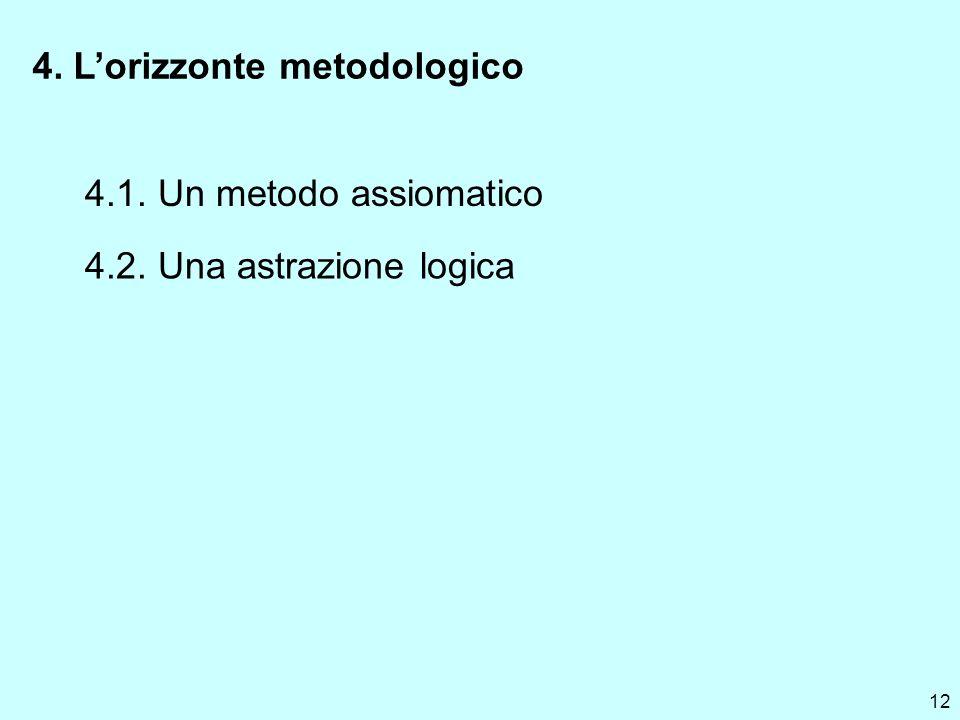 12 4. Lorizzonte metodologico 4.1. Un metodo assiomatico 4.2. Una astrazione logica