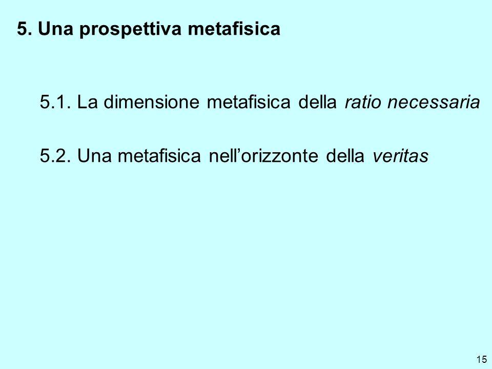 15 5. Una prospettiva metafisica 5.1. La dimensione metafisica della ratio necessaria 5.2. Una metafisica nellorizzonte della veritas