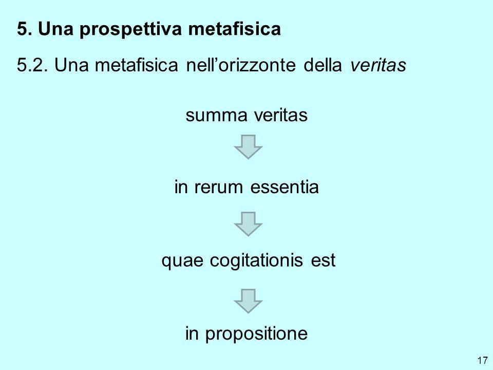 17 5. Una prospettiva metafisica 5.2. Una metafisica nellorizzonte della veritas summa veritas in rerum essentia quae cogitationis est in propositione