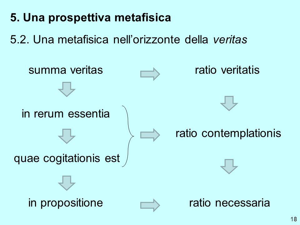 18 5. Una prospettiva metafisica 5.2. Una metafisica nellorizzonte della veritas summa veritas in rerum essentia quae cogitationis est in propositione