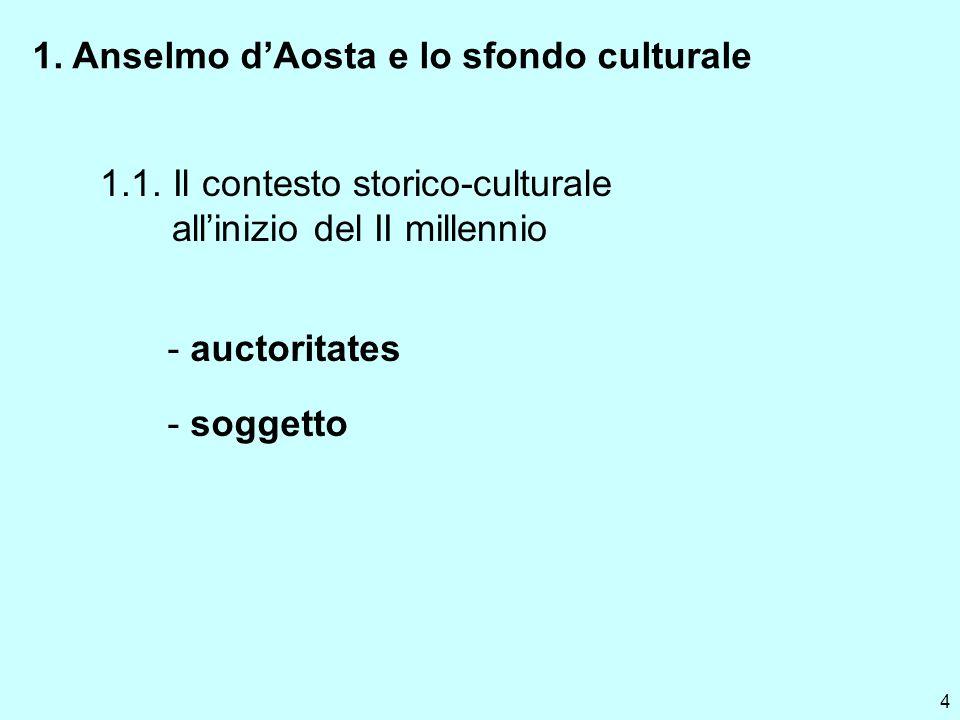 4 1. Anselmo dAosta e lo sfondo culturale 1.1. Il contesto storico-culturale allinizio del II millennio - auctoritates - soggetto