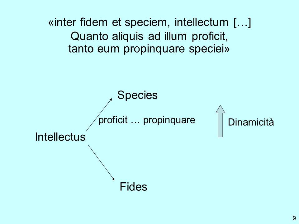 9 «inter fidem et speciem, intellectum […] Quanto aliquis ad illum proficit, tanto eum propinquare speciei» Intellectus Fides Species proficit … propinquare Dinamicità