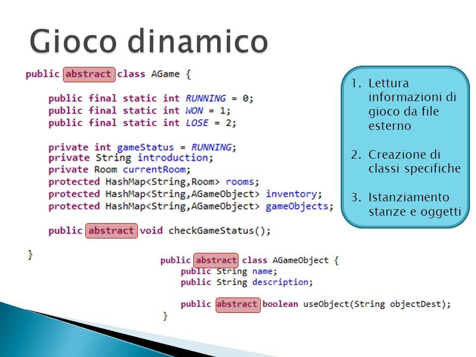 1.Lettura informazioni di gioco da file esterno 2.Creazione di classi specifiche 3.Istanziamento stanze e oggetti