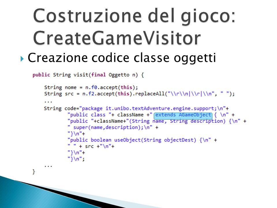 Creazione codice classe oggetti
