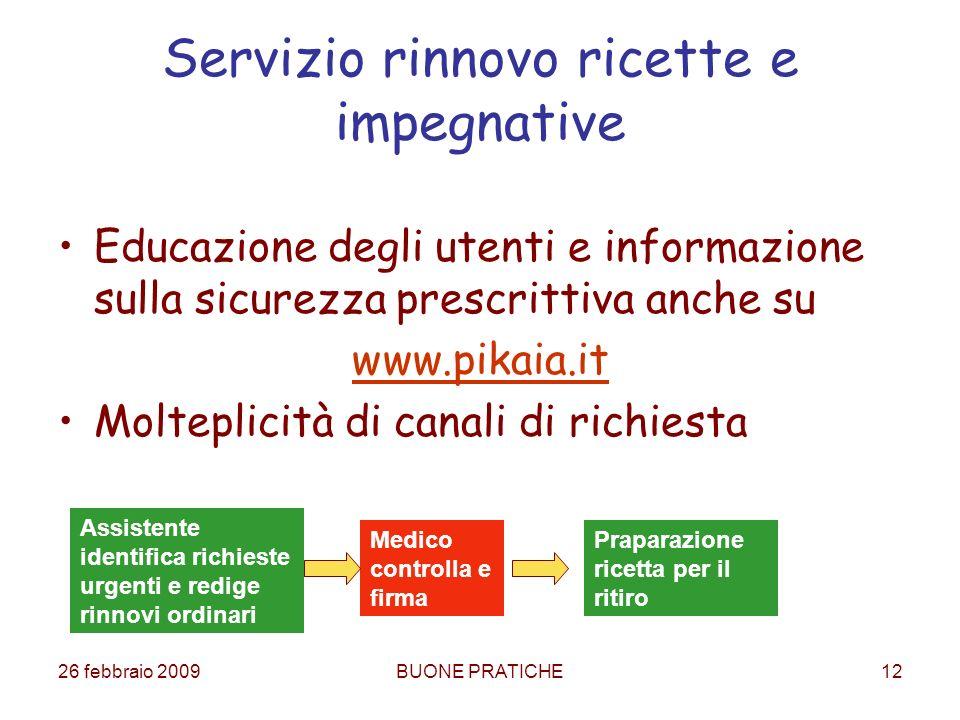 26 febbraio 2009BUONE PRATICHE12 Servizio rinnovo ricette e impegnative Educazione degli utenti e informazione sulla sicurezza prescrittiva anche su w