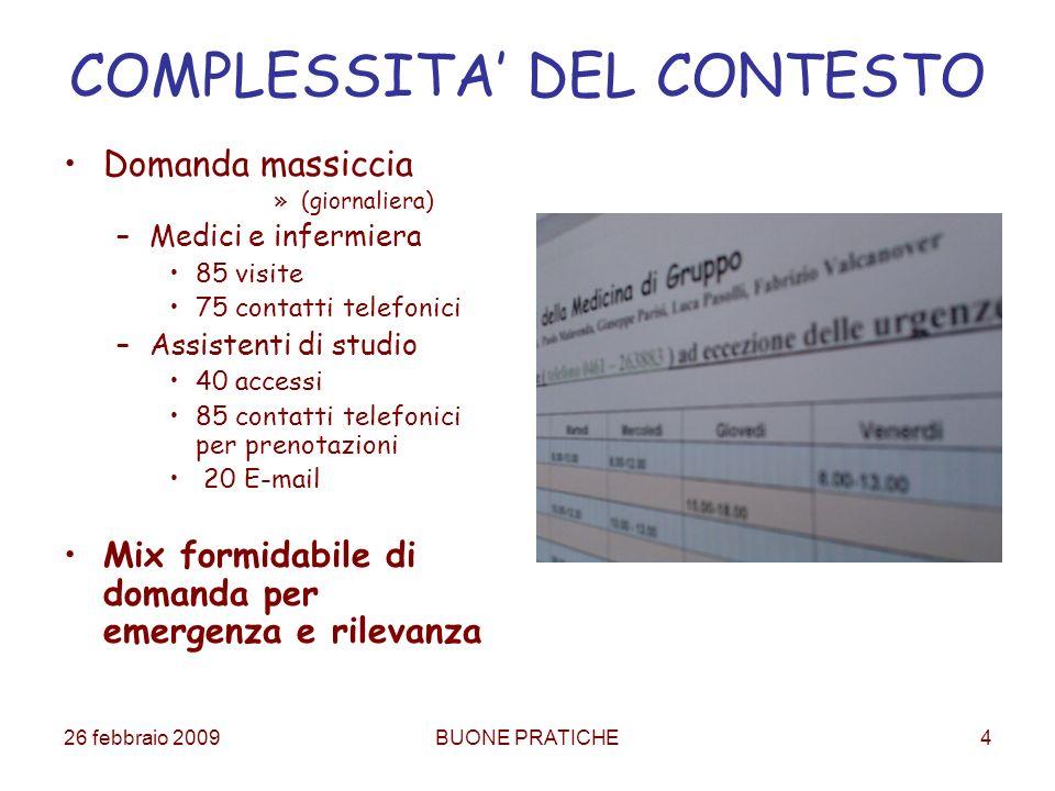 26 febbraio 2009BUONE PRATICHE4 COMPLESSITA DEL CONTESTO Domanda massiccia »(giornaliera) –Medici e infermiera 85 visite 75 contatti telefonici –Assis
