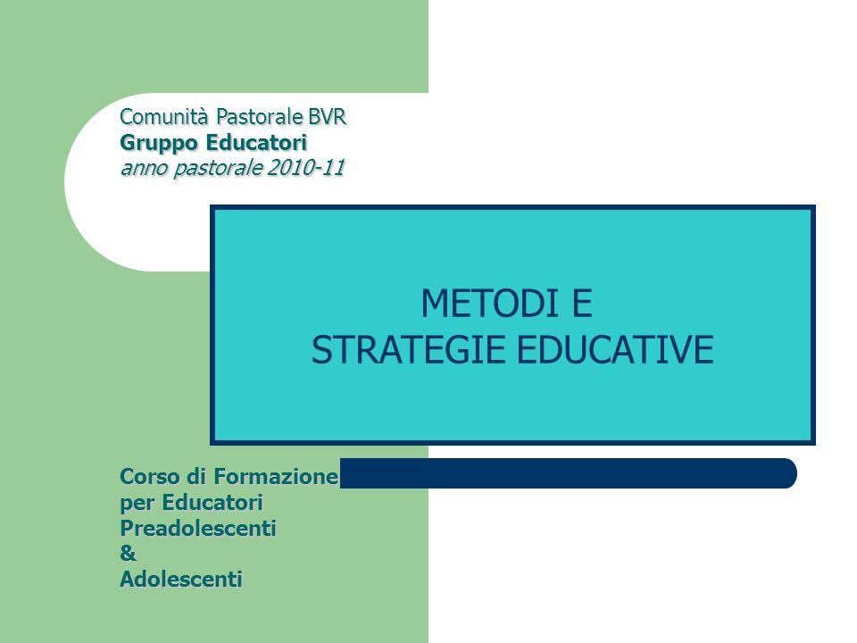 Comunità Pastorale BVR Gruppo Educatori anno pastorale 2010-11 Corso di Formazione per Educatori Preadolescenti & Adolescenti METODI E STRATEGIE EDUCATIVE