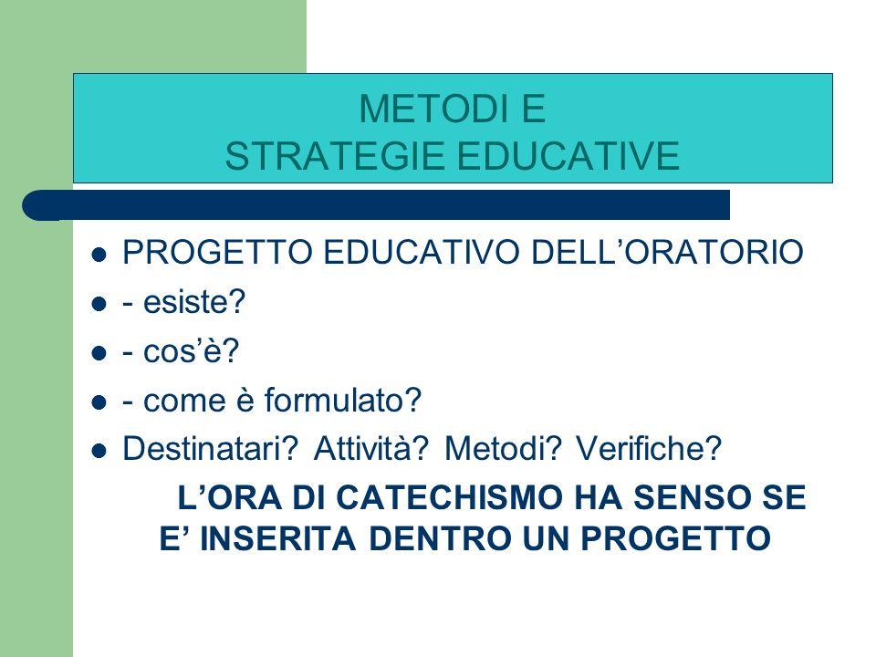 Premessa 2: Il metodo e la strategie educative funzionano se… ESISTE UNA COMUNITA EDUCANTE – ( gruppo di catechisti) METODI E STRATEGIE EDUCATIVE