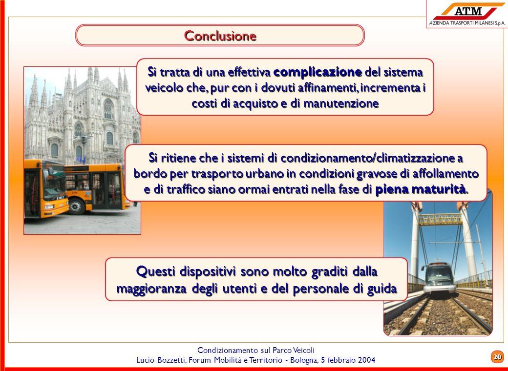 19 Condizionamento sul Parco Veicoli Lucio Bozzetti, Forum Mobilità e Territorio - Bologna, 5 febbraio 2004 Filobus Attualmente laria condizionata è r