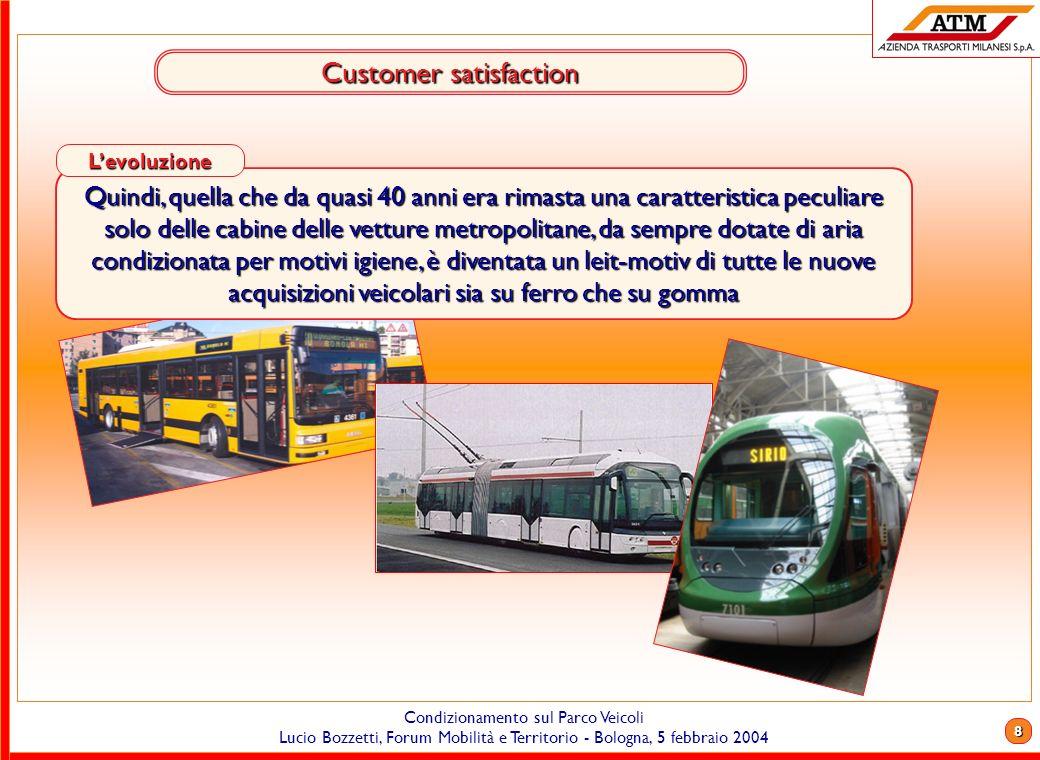 7 Condizionamento sul Parco Veicoli Lucio Bozzetti, Forum Mobilità e Territorio - Bologna, 5 febbraio 2004 Customer satisfaction Uno degli elementi pi