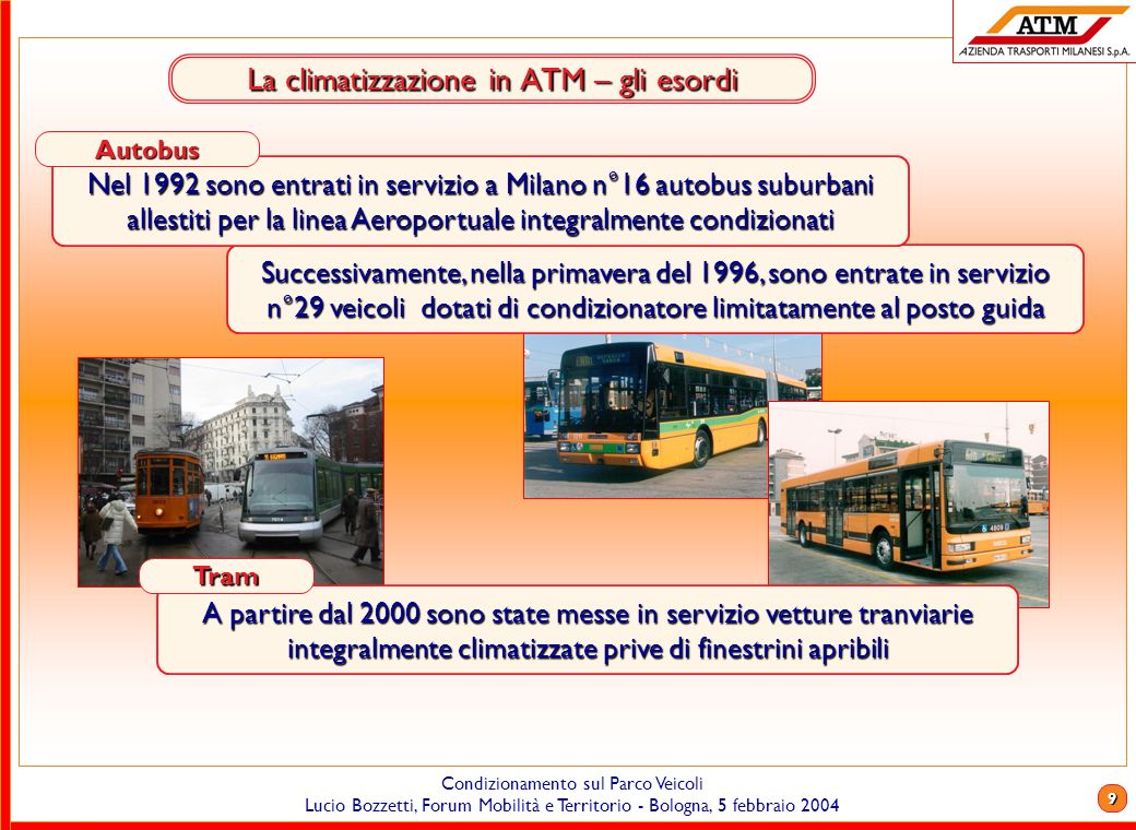 8 Condizionamento sul Parco Veicoli Lucio Bozzetti, Forum Mobilità e Territorio - Bologna, 5 febbraio 2004 Customer satisfaction Quindi, quella che da