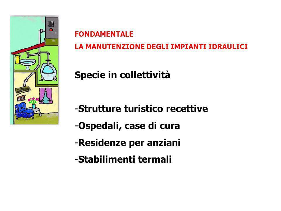 FONDAMENTALE LA MANUTENZIONE DEGLI IMPIANTI IDRAULICI Specie in collettività -Strutture turistico recettive -Ospedali, case di cura -Residenze per anz
