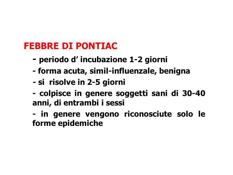 FEBBRE DI PONTIAC - periodo d incubazione 1-2 giorni - forma acuta, simil-influenzale, benigna - si risolve in 2-5 giorni - colpisce in genere soggett