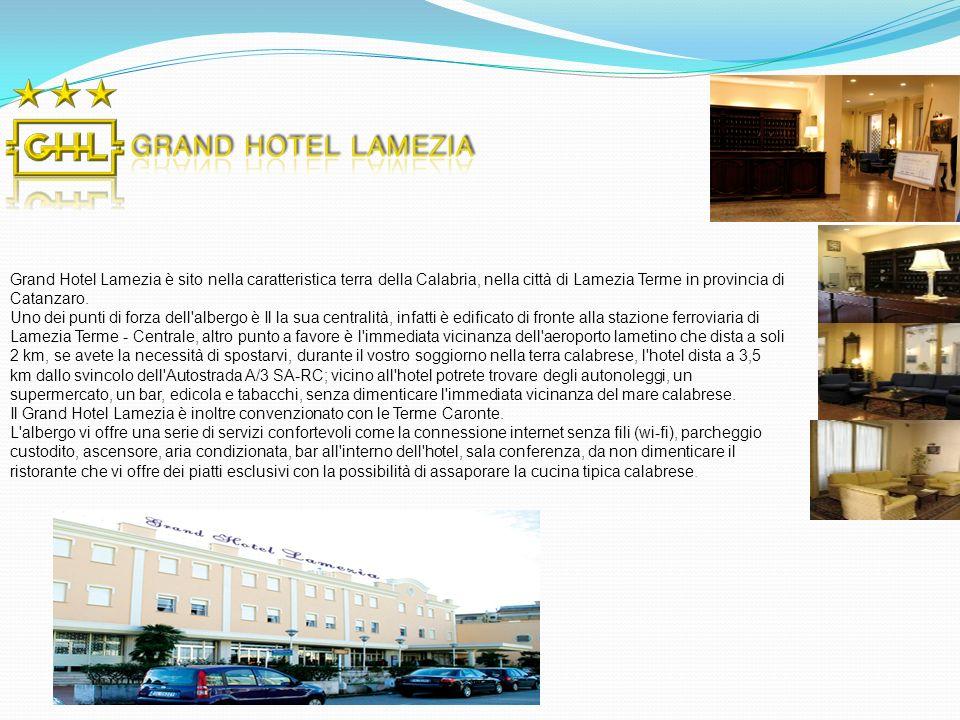 Grand Hotel Lamezia è sito nella caratteristica terra della Calabria, nella città di Lamezia Terme in provincia di Catanzaro. Uno dei punti di forza d