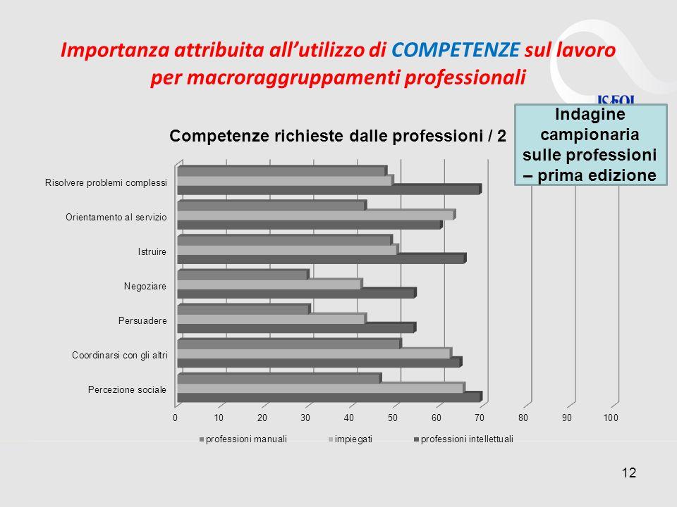 Importanza attribuita allutilizzo di COMPETENZE sul lavoro per macroraggruppamenti professionali 12 Indagine campionaria sulle professioni – prima edizione