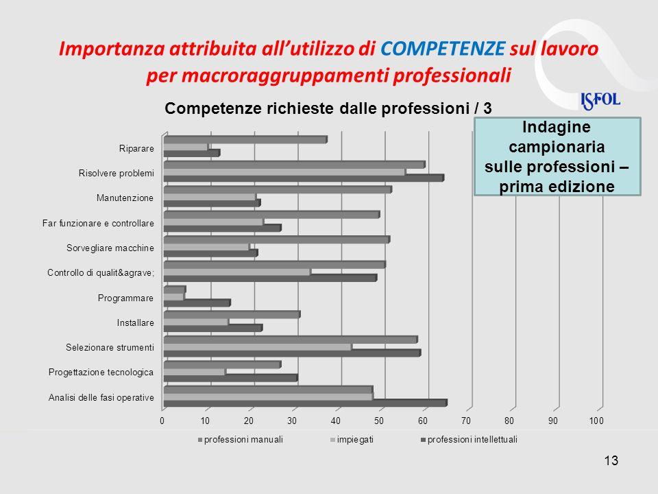 Importanza attribuita allutilizzo di COMPETENZE sul lavoro per macroraggruppamenti professionali 13 Indagine campionaria sulle professioni – prima edi