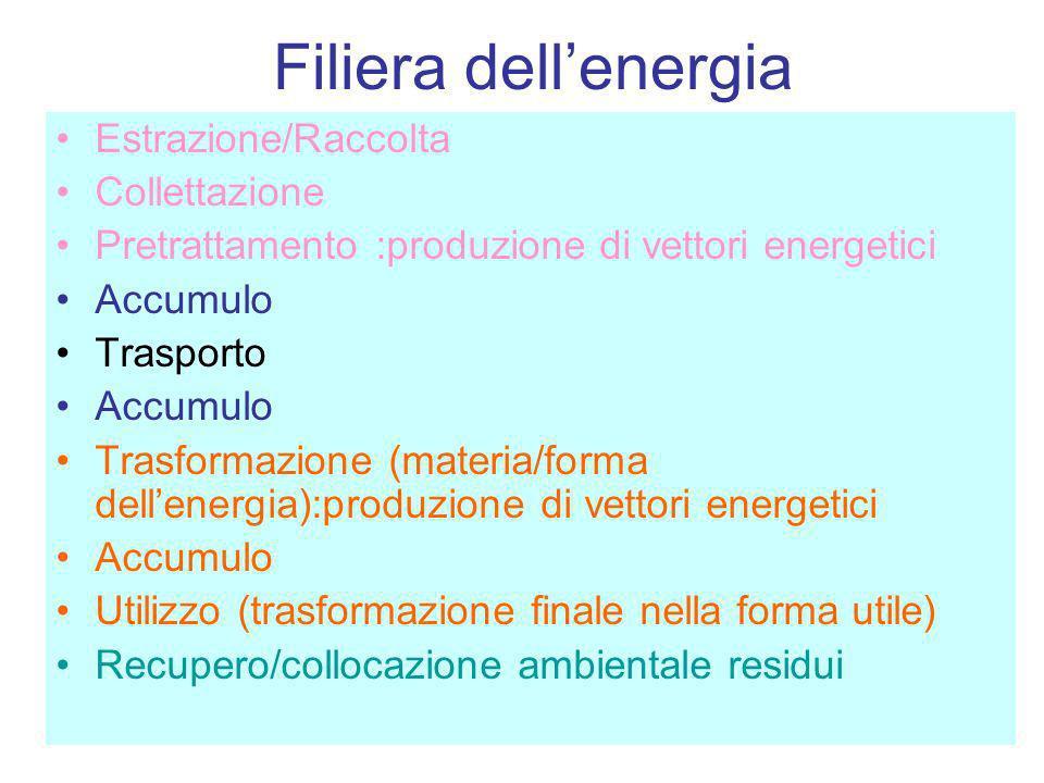 Filiera dellenergia Estrazione/Raccolta Collettazione Pretrattamento :produzione di vettori energetici Accumulo Trasporto Accumulo Trasformazione (mat
